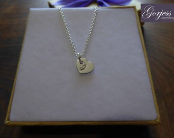 Handmade Silver Heart with Initial - Little Silver Heart Charm - Personalised Heart Pendant - Silver Heart Necklace
