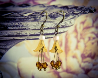 Amber Crystal and Lucite Flower Bronze Hook Earrings [E30]