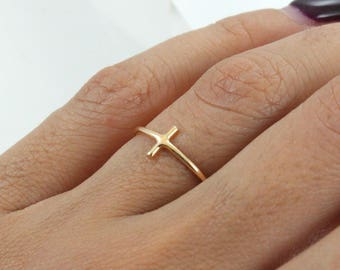 Stacking 14K Gold Plated Ring - Gold Cross Ring - Main material Sterling Silver - Stackable Ring-