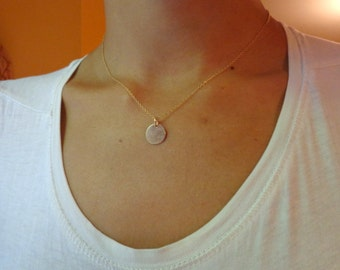 necklace 14k gold filled pendant disk 11 mm , simple, modern, hand made, minimalist
