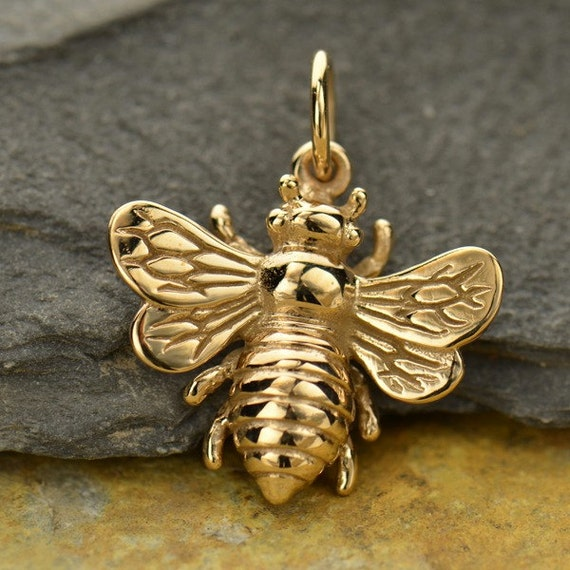 Natura Charm: Large Natural Bronze Honeybee Bumble Bee Charm Beekeeper