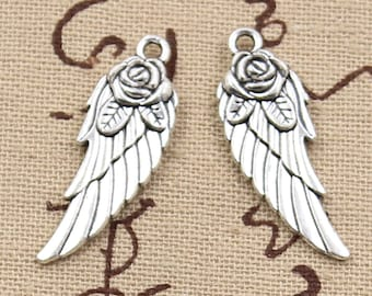 5 Angel Wings Rose Charm Pendant 30mm x 12mm - Antique Silver Plated - Jewelry Making