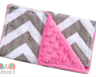 Grey & Hot Pink Chevron Minky Burp Cloth, Burp Rag, Drool Bib, Modern Burp Cloth, Drooling Bib, Baby Gift, Girl Burp Cloths