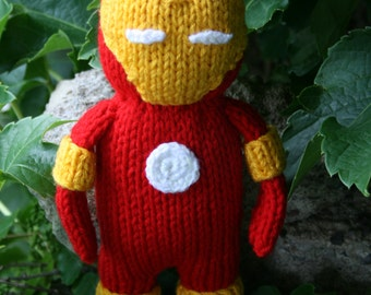 Ready To Ship-Ironman Hand Knit -soft stuffed toy doll