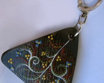 Green Bits keychain, Alhambra, recycled reclaimed oak wine barrel stave, hand painted, one of a kind
