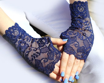 Lace Gloves in Navy Blue. Stretch Lace, FingerlessLace Gloves, Bride, Bridesmaid, Gift. Ready to ship.