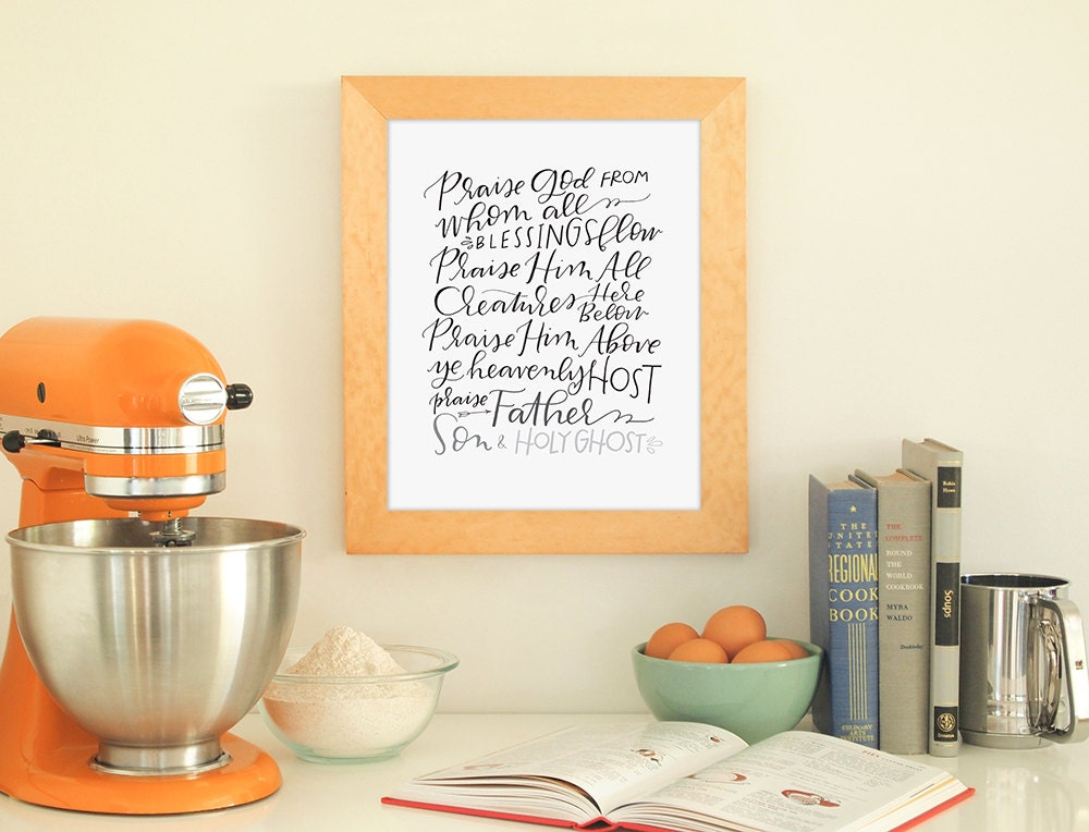 Lyric praise god from whom all blessings flow lyrics : doxology hand lettered print // praise god from whom all