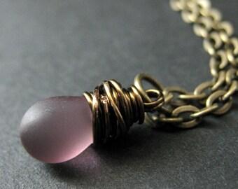 Teardrop Necklace. Clouded Purple Teardrop Necklace in Bronze. Bridesmaid Necklace. Handmade Jewelry.