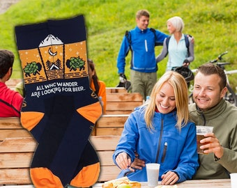 All Who Wander Are Looking For Beer, Beer Socks, Wanderlust, Cycling Socks, Camping Socks, Beer Nerd