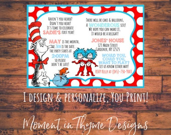 Personalized Dr. Seuss Cat in the Hat Birthday Party Invite Invitation Announcement Digital Printable