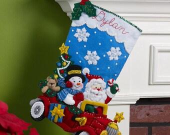 "Bucilla Holiday Drive 18"" Christmas Stocking Felt Applique Kit, 86451"