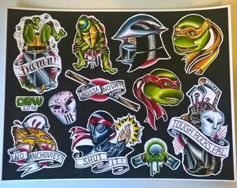 Teenage Mutant Ninja Turtles Tattoo Flash