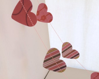 Paper Hearts Garland - 6 Feet - Valentine's Day Decoration - Galentine's Day Decoration - Heart Bunting - Pink Bunting