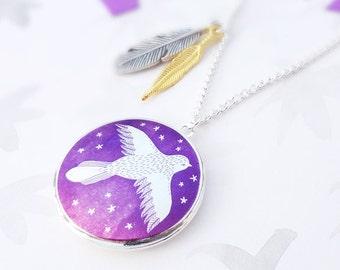 Spread Your Wings Bird Locket Necklace - Silver