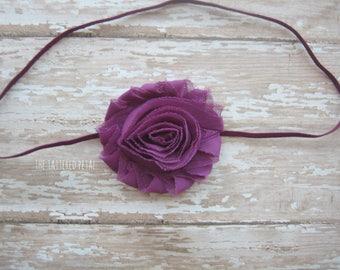 Plum headband, plum bow Fall headband, eggplant headband, purple headband, Thanksgiving headband, newborn headband, baby headband photo prop