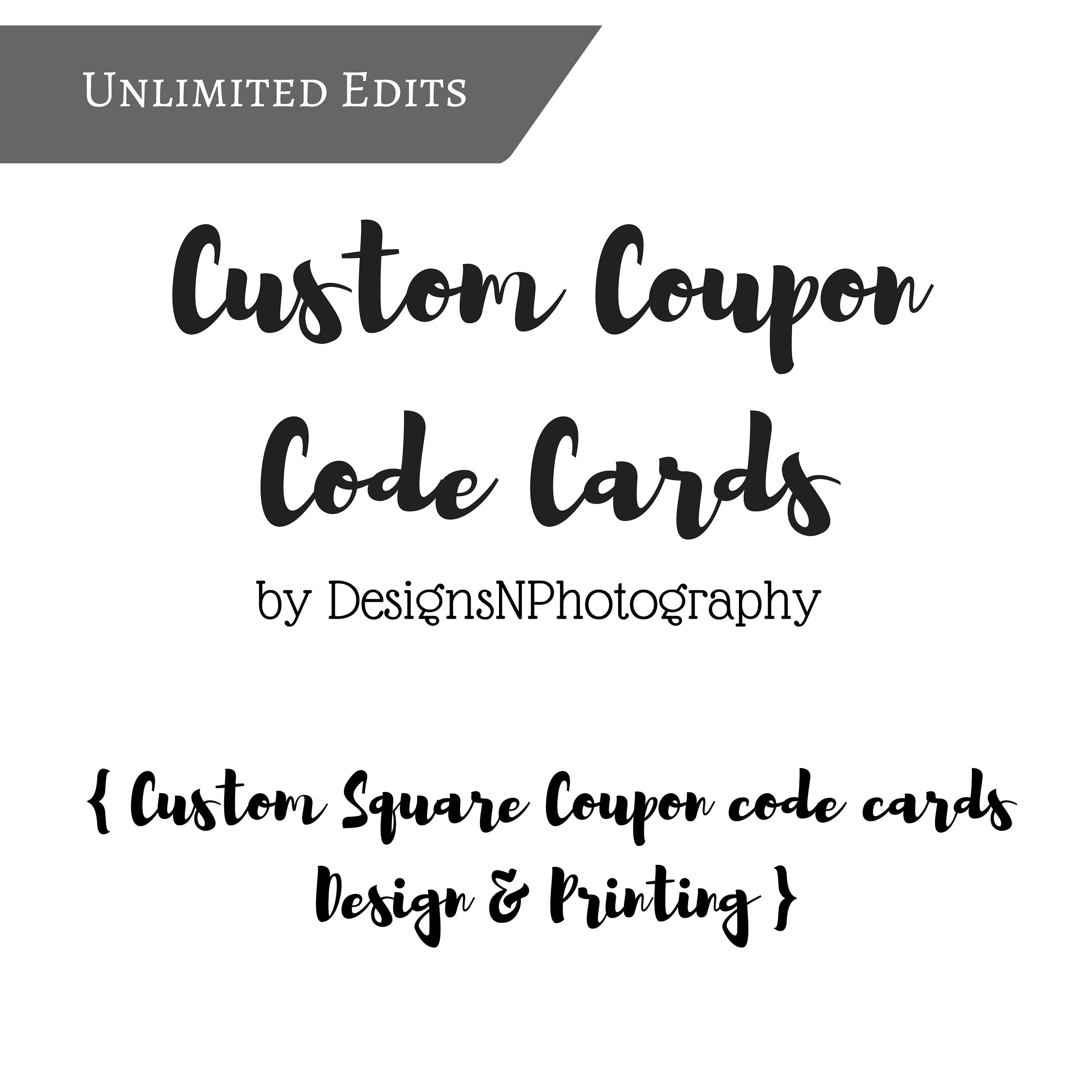 Square CUSTOM COUPON CODE Thank You cards, Custom Thank you coupon ...