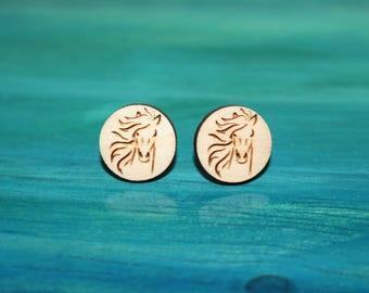 Wooden Horse Earrings