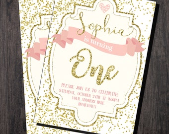 PINK AND GOLD birthday invitation - Gold Confetti first birthday invitation - First Birthday Party Invitation, 1st Birthday - Gold Glitter,