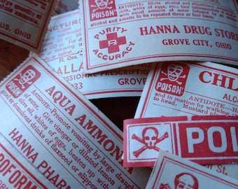 11 Different AUTHENTIC Vintage Pharmacy Labels : Assorted Poisons
