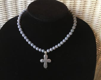 Hammered Pewter Silver Cross Necklace with Gray Acrylic Beads on Stretch Cord