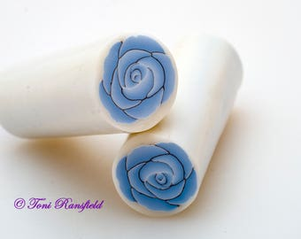 Light Blue Rose Polymer Clay Cane, Raw polymer Clay Cane, Millefiori Polymer Clay