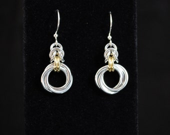 Silver and Gold Byzantine earrings