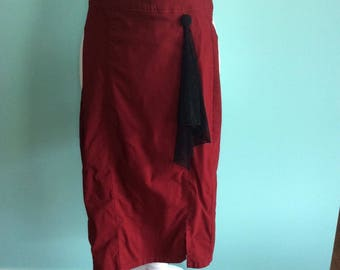 Red 1950s Pinup Rockabilly Style Stretchy Pencil Wiggle Skirt - Size S