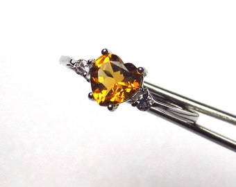 Wonderful Genuine Honey Citrine Heart in a Pretty Accented Sterling Silver Setting