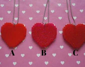 Choose your colour - Pixeled Heart Necklace
