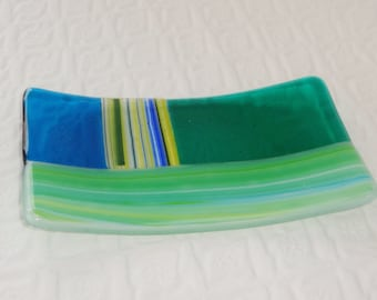 Masculine Fused Glass Soap Dish, Green Fused Glass Soap Dish, Glass Spoon Rest, Candle Cradle - Cool Colors