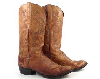 Lucchese Cowboy Boots Vintage 1980s Brown Western Men's size 8 D
