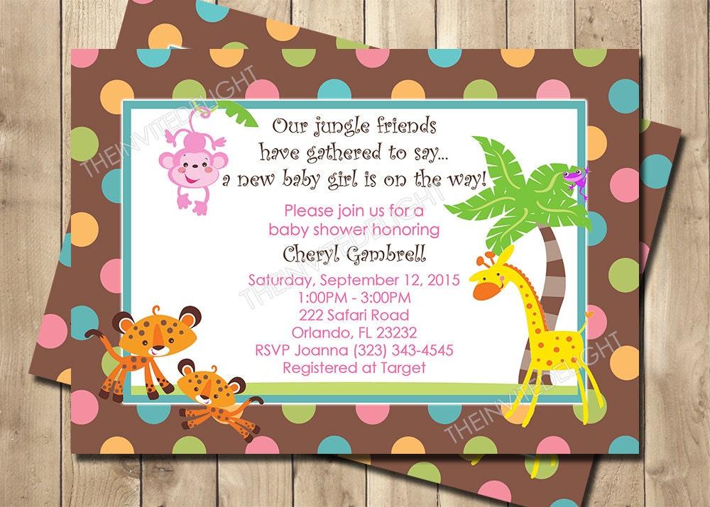 Jungle Safari Girl Baby Shower Invitation Baby Jungle
