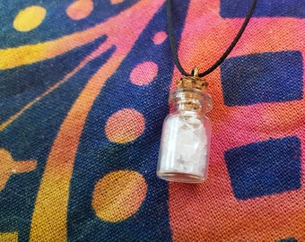 Crystal Quartz | Fairy Gemstone Bottle Necklace | Crystals, Gems, Jewelry, Fairy Gifts, Rocks & Minerals, Natural, Stone
