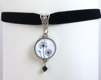 Dandelion Pendant Black Velvet Ribbon Choker Necklace