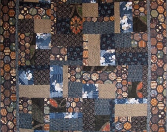 Patchwork Quilt - blue and brown Japanese Bits and Pieces