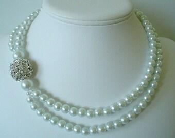 Balle gros strass blanc perles deux chapelet collier mariée superbe collier pour la mariée
