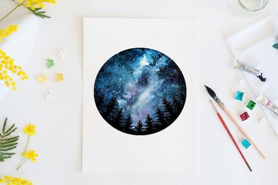 Mini Galaxy Watercolor Print Space Wall Art
