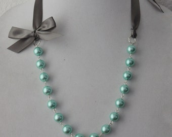 Turquoise Pearl and Charcoal Gray Ribbon Bow Necklace