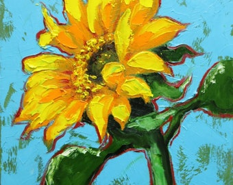 Floral painting 263 12x12 inch original still life sunflower oil painting by Roz