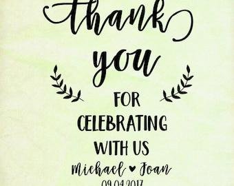 Custom Wedding Calligrapy Stamp -Wedding Thank You Stamp -  Wedding Favor Tag - Thank You For Celebrating With Us - Cookie Wedding Favor Bag