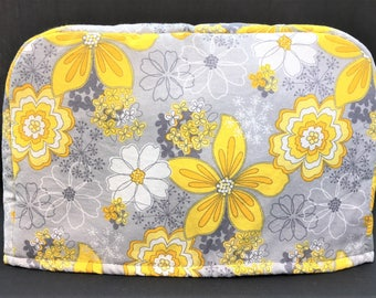 Yellow and White Flowers on Grey Fabric Reversible 2-Slice Toaster Cover