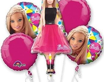 Barbie Sparkle 5 Piece Bouquet Of Mylar Foil Balloons