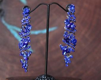 cobalt earrings, cobalt blue rhinestone earrings, royal blue earrings, crystal earrings, blue dangle earrings, holiday earrings