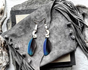 Blue feather earrings, Moonstone, stone blancchr, ethnic, hippie jewelry