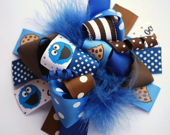 boutique FUNKY fun COOKIE MONSTER hair bow clip