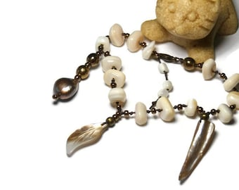 Bohemian bracelet, charms, mother of Pearl and beads bronze overlap