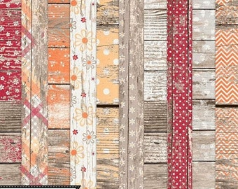On Sale 50% Choose Joy 12x12 Worn Wood Shabby Papers and Backgrounds for Digital Scrapbooking, Kit