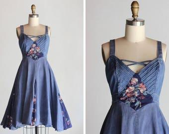 Vintage Evelinda Denim-Floral Dres