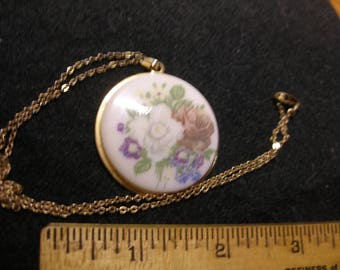 """Hand Painted Porcelain Pendant on 18"""" G.F. Chain"""