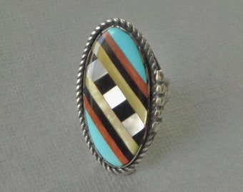 Vintage NATIVE American Indian Long Turquoise RING Inlay Spiny Oyster Black Onyx Mother of Pearl Gemstone Rings STERLING Silver Band Size 6